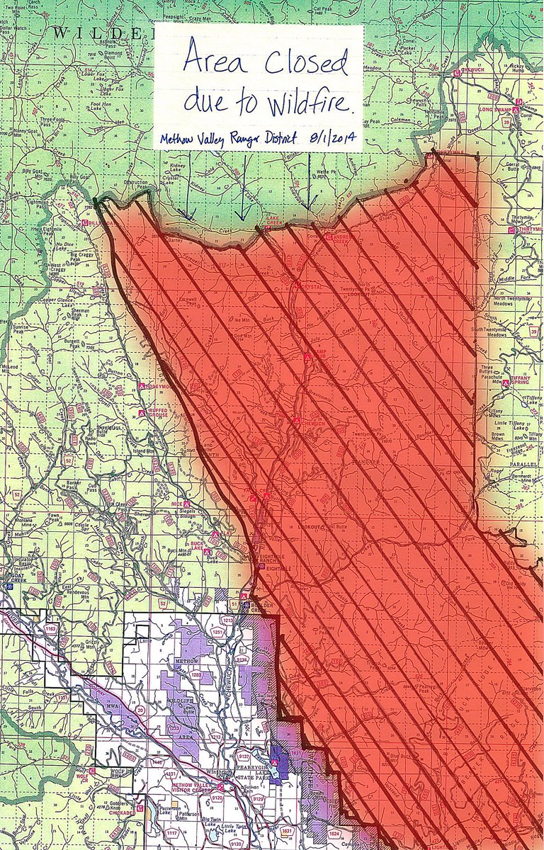 Public lands in the red area, managed by the U.S. Forest Service in the Methow Ranger District, are closed to public travel and recreation effective until further notice.