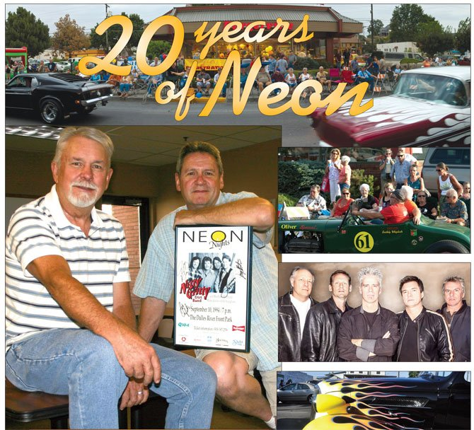 LOOKING BACK 20 years to 1994, the Mid-Columbia Car Club launched what would come to be known as the crowd-pleasing Neon Cruise. The same year the Neon Nights concert series launched with the Nitty Gritty Dirt Band. In the photo, upper left, Steve Hudson of the car club, and Randy Haines of Neon Nights pose with an autographed poster of the band. Other performers through the years included the Little River Band.