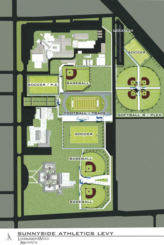 A new sports complex in Sunnyside would upgrade the existing track behind Sunnyside High School and Harrison Middle School to a stadium; upgrade the current varsity baseball diamond and add two more diamonds behind Chief Kamiakin Elementary School; and add softball diamonds and more parking in an area behind the high school the district would have to purchase using other funds than would be collected through a six-year levy.