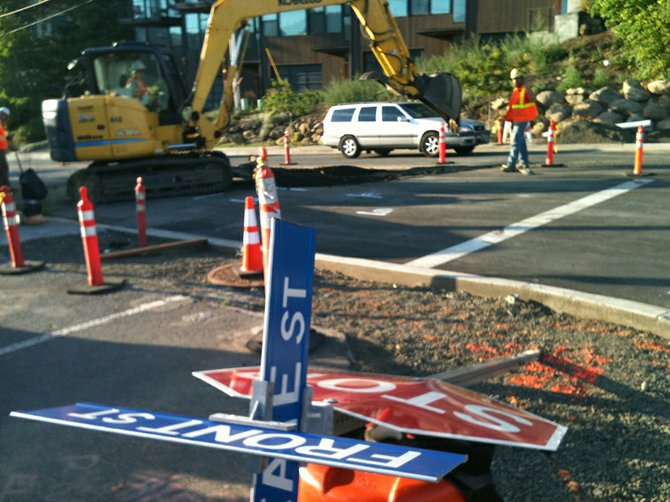 LOOK for one-lane traffic, with delays, at the east entrance to downtown Hood River, Front and State Streets, for the rest of this week.