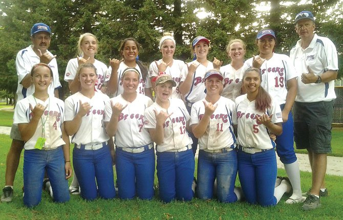 TEAM MEMBERS representing the 16U Aloha Breeze share a moment to smile after finishing in fifth place at the ASA Western nationals last weekend in Clovis, Calif. The players are (in no particular order), Shearyna Labasan, Sage Harrison, Tiffany Snyder, Grace Helyer, Taylor Peterson, Ruthie Ford, Leila Belog, Chandie Perez, Claire Lucas, Emily Powers, Shakayla Snyder, Sarah Hess, Maddy Bradford, Stephanie Stamnes and Kathryn Bradford. The coaching staff includes head coach Rob Combs and assistants Jerry Snyder, Michelle Combs and Kelsey Combs. In 44 games played during the summer season, the Breeze posted a combined 25-19 record and scored 277 runs. The team placed fifth at State, Regionals and then Western Nationals.