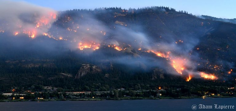The Rowena Fire burns west of The Dalles, August 6, 2014.