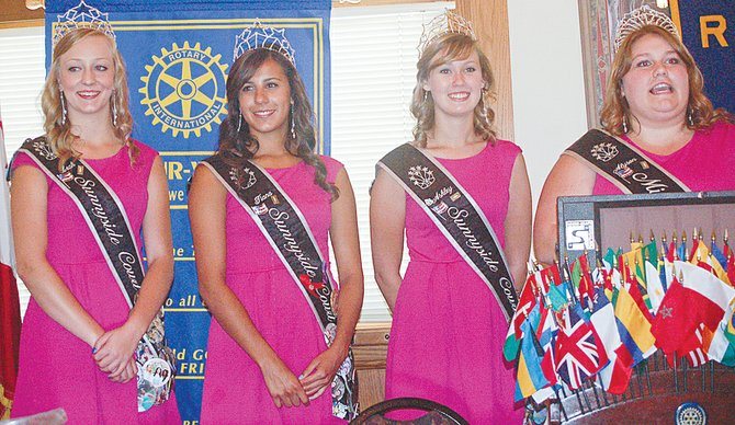 Sharing their favorite memories from their year as members of the Miss Sunnyside Court are (L-R) Princesses Leah Diddens, Tiana Perez, Ashley Davis and Miss Sunnyside Alyson Spidle. The court members were the guest speakers at Monday's Sunnyside Noon Rotary Club meeting.