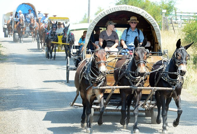 Horse-drawn wagons and buggies of various shapes and sizes set out on a four-day trip from Clearwater to Elk City last Wednesday, Aug. 6 and arrived in time for the Elk City Days parade last Saturday, Aug. 9.