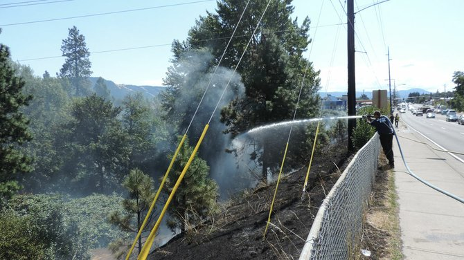 Hood River Fire and EMS responded to a grass fire Friday, Aug. 22, just before 1 p.m., at 12th Street near Pacific Avenue.