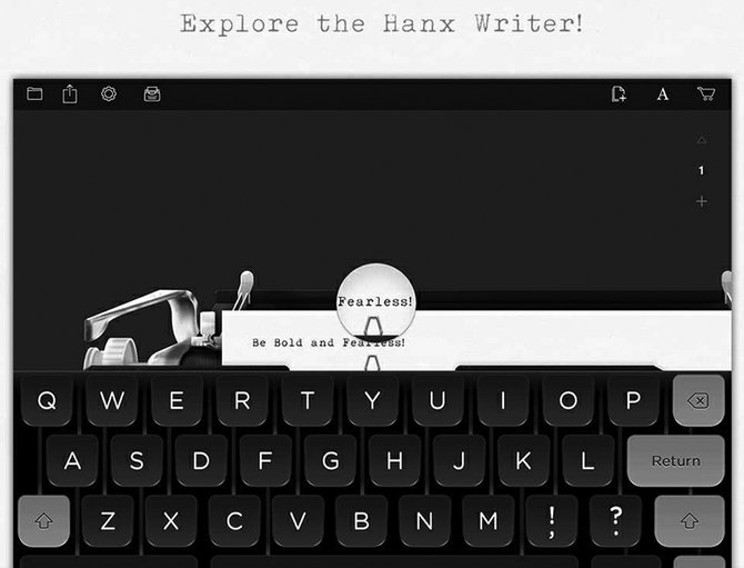 A screenshot gives you an idea of how Hanx Writer turns your iPad into a typewriter.
