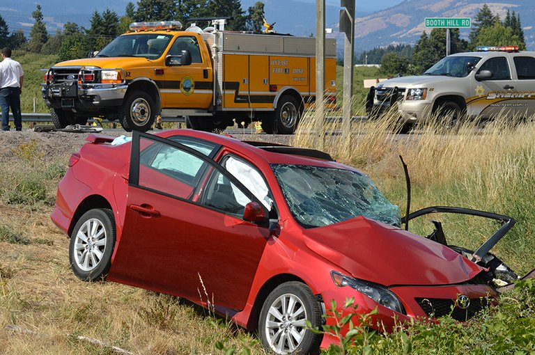 The driver of this red Corolla received critical injuries in the crash that occured Thursday afternoon at the intersection of Hwy. 35 and Booth Hill Road.