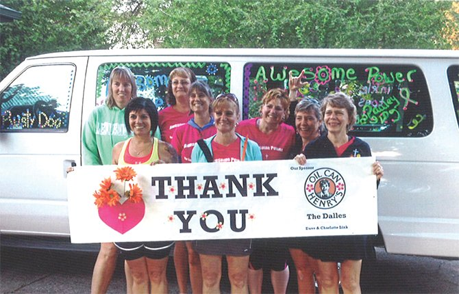 LOCAL WALKING team from The Dalles called Awesome Power share smiles and an offer of gratitude to sponsor, Oil Can Henry's, after this past weekend's Portland to Coast Relay. The members are (in no particular order in photo), Kendra Starks, Deanne Saldivar-Witter, Diana Pishion, Paula Fairclo, Tracie Schubert, Sarah Picket, Dawn Opbroek and Judy Powell.