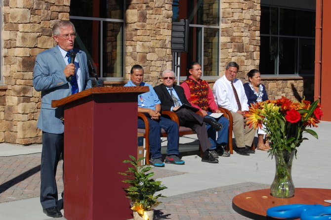Grand Coulee Dam School District Superintendent Dennis Carlson thanks numerous dignitaries for their effort to open the new Lake Roosevelt school complex in Coulee Dam today.