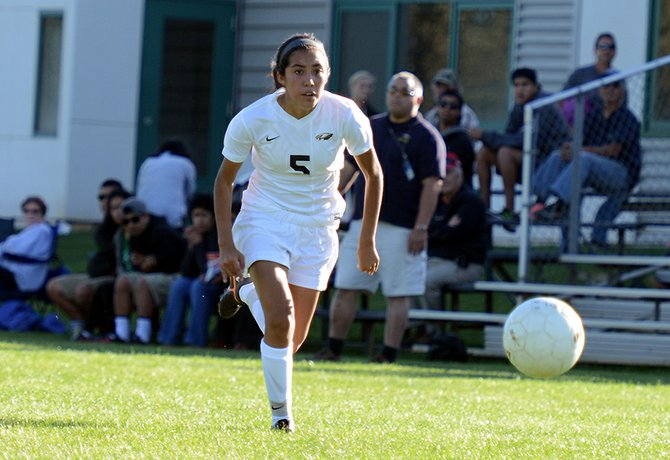 Cielo rivera drives up the wing Thursday in the HRV varsity girls' 2-0 win vs. Reynolds. Rivera scored later in the game.