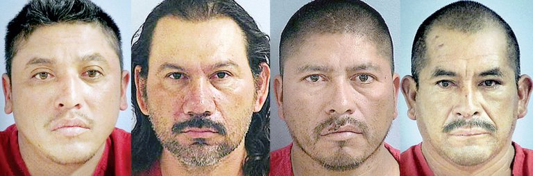Orchard workers, from left, Oscar Perez-Torres, 37, of Pateros; Jaime M. Salazar-Gomez, 38, of Orondo; Jose D. Jimenez-Hernandez, 42, of Pateros; and Ramon Arrellano-Lopez, 45, of Pateros, are facing second-degree murder charges in the Saturday night slaying of 28-year-old coworker Jose L. Galeana-Palacios of Pateros.