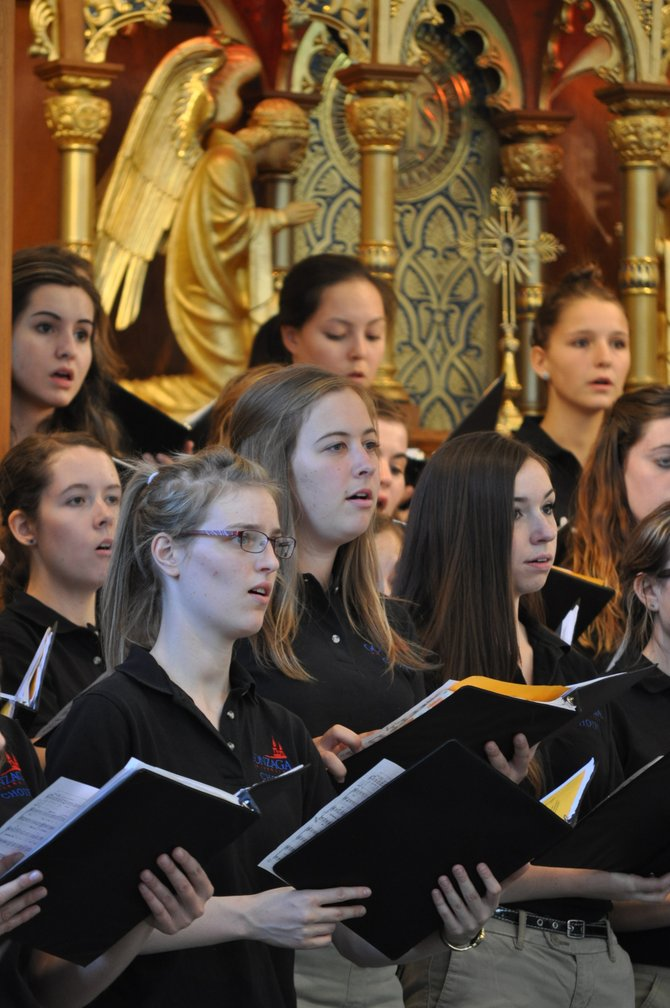 The 75 members of the Gonzaga University Concert Choir performed at the Monastery of St. Gertrude on Sunday, Sept. 15, as part of the Spirituality and the Arts at St. Gertrude program. The hourlong performance featured traditional pieces by Bach and Handel, as well as international music from Kenya, Haiti and Cuba.