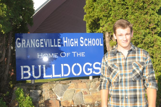 Grangeville High School student Travis Goehring recently placed the new sign he designed as part of his senior project.