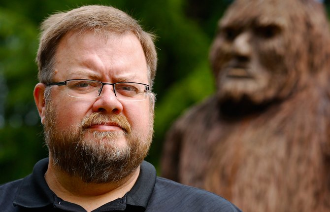 Rhettman Mullis seen in an Aug. 5 photo, co-authored a study analyzing hair from presumed Sasquatches, yetis and other hairy humanoids. They turned out to be cows, bears and other known mammals. But his belief in Bigfoot is unshaken.