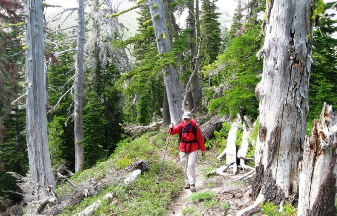 JANET TSCHANZ makes her way along the trail toward the Newton Creek Moraine.