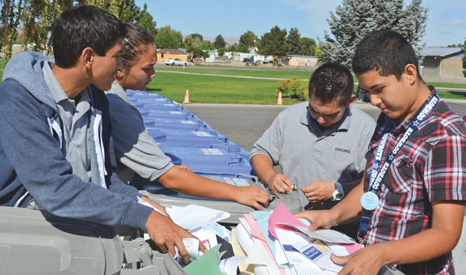 Sunnysiders received help last Saturday in safely discarding personal documents and old prescription medications during Yakima County Crime Stoppers' twice annual 'shred and med' event at the Law and Justice Center. The public was invited to drop off unused or expired medications, as well as personal or financial documents that require shredding. Sunnyside Police Explorers who volunteered their time during Saturday's 'shred and med' included (clockwise from left) Ariel Gurrola, Victoria Torres, Anthony Sanchez and Emmanuel Garcia.