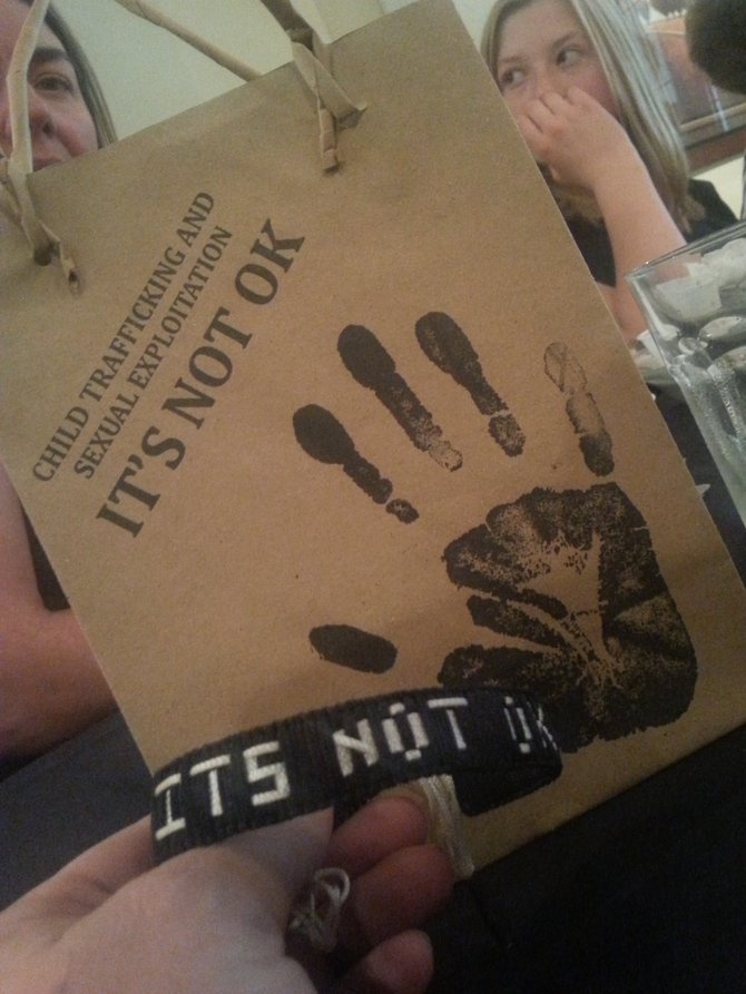 Stout gave out handprints and handmade bracelets constructed by young Cambodian women who were former sex slaves.