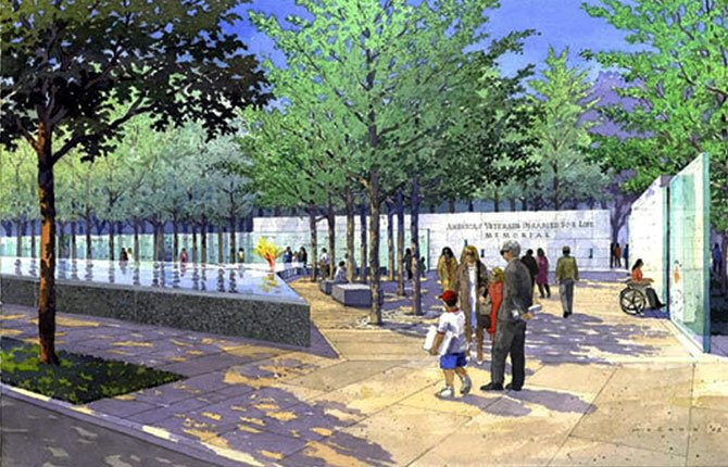 IN THIS WATERCOLOR illustration provided by the Veterans Disabled for Life Foundation, people stroll through the memorial for disabled veterans. The American Disabled for Life Memorial will be dedicated in Washington on Sunday, Oct. 5. Florida socialite Lois Pope donated $10 million for the memorial construction.