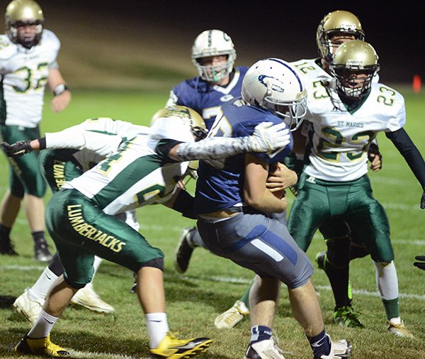 Grangeville's Jake Kaschmitter broke this tackle with a spin move near the goal line during Grangeville's 56-8 homecoming drubbing of St. Maries last Friday night, Oct. 10. Kaschmitter helped power a rushing attack that amassed nearly 300 rushing yards against a Lumberjacks squad that entered the game with five wins to its credit.