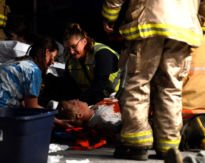 "EMS providers work with a ""casualty"" at last week's training in Cottonwood."
