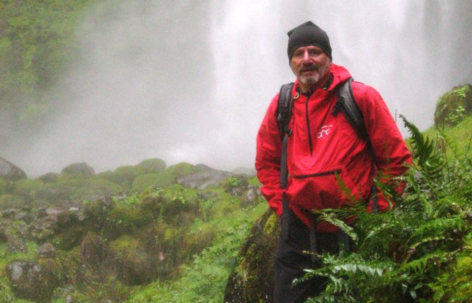 Skip Tschanz at yet another Columbia Gorge waterfall.