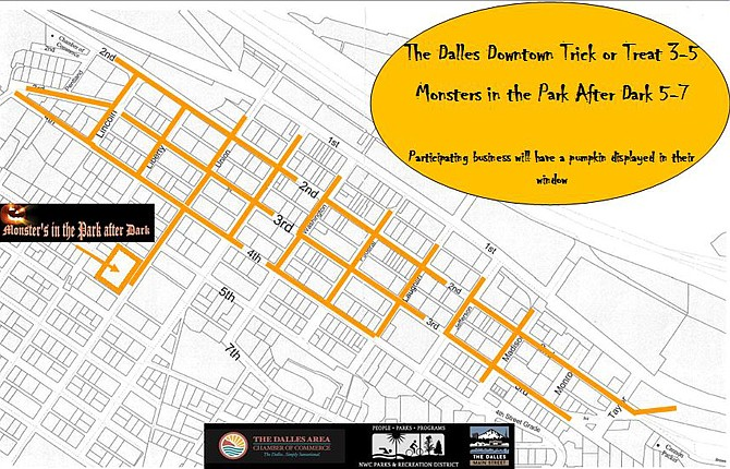 THE DALLES Main Street has created a map of the Oct. 31 trick-or-treating area in the downtown blocks that is posted in color on the organization's website, www.thedallesmainstreet.org, or The Dalles Area Chamber of Commerce site at www.thedalleschamber.com.