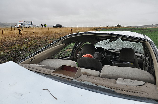 Looking north through the wrecked Honda involved in last Friday's two-car crash on U.S. Highway 95.