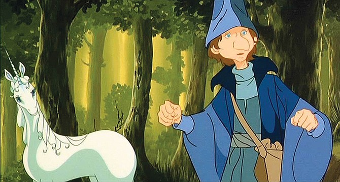 The Last Unicorn tells the story of a unicorn that goes on a quest to find out what happened to the other unicorns. She is joined by the bumbling magician Schmendrick.