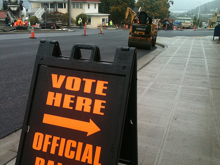 Ballots can be dropped at the downtown county building; look for paving work at State and Sixth streets.