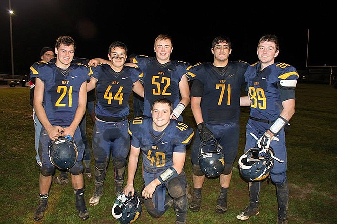 Seniors played their last game together Friday vs. The Dalles. Pictured are seven of the team's 12 seniors posing for a photo after the game.From left are Patrick Crompton, Willie Ishizaka, Steven Swafford, Jonnie Knickerbocker, Michael Lane and Kam Walker.