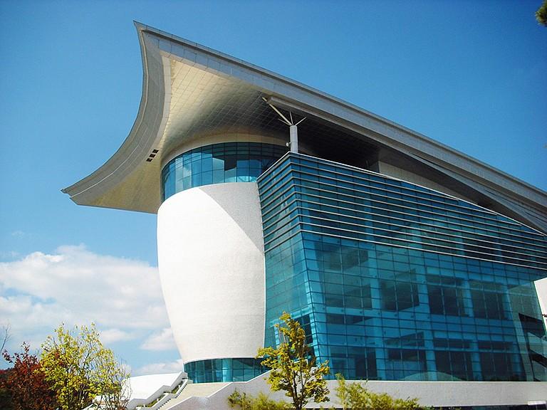 The modern lines of the Gyeongju Art Center.