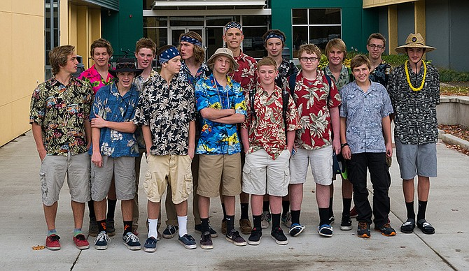 Ready to rock: Hood River Valley High School varsity boys water polo players are headed to Corvallis Thursday night to take on Marist in the 5A state championship semifinal round. Pictured are (back, from left) Leif Bergstrom, Russel Grim, Lewie Taylor, Stan Ocheskey, Arthur Finstad, Cole Rothman, Trey Schilling (Front, from left) Charlie Sutherland, Will Lamer, Adam Cameron, Myles Cameron, JJ Mears, Daniel Mears, Blake Winner and Dakota Kurahara.