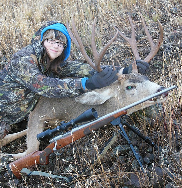 Callie Williams, a freshman at Grangeville High School, bagged this buck Oct. 25 while hunting with her grandfather, Will Williams. She fired her Winchester .245 from the prone position at a range of 284 yards after turning down 12 bucks during several weeks of hunting, Will Williams said.