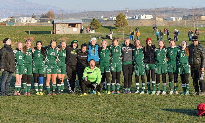 The Liberty Bell girls soccer team is all smiles after a victory over Okanogan last Saturday.