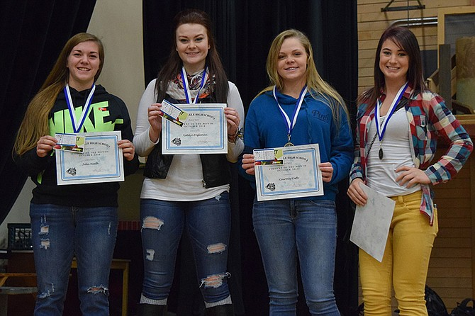 """Grangeville High School students of the month for """"spirit"""" for October are (L-R) Julia Health, Katelyn Fogleman, Courtney Cuffe and Erica Fortin."""