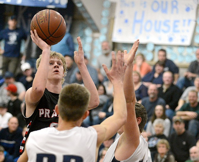 Prairie's Rhett Schlader knocked down this jump shot for two of his 18 points last Friday night, Dec. 12, at the Idaho County Shootout. When Grangeville closed within one possession late in the third quarter, Schlader sank three free throws to restore Prairie's lead to six.