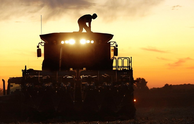 A CENTRAL Illinois corn farmer, on top of his combine, is silhouetted against the setting sun while harvesting corn in Pleasant Plains, Ill., Sept. 27. U.S. agriculture has a big appetite for freer trade with Cuba, and corn is one of the main products Cuba now buys from the United States.