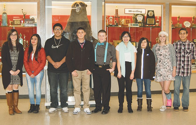 Sunnyside High School students of the month for November are (L-R) Heidi Lancaster, Briseida Mendoza-Sandoval, Erick Ontiveros-Galvan, Javier Ramirez, Mark Mortensen, Hienschi Nguyen, Alexis Campos, Kayla Bos and Humberto Jasso Jr.