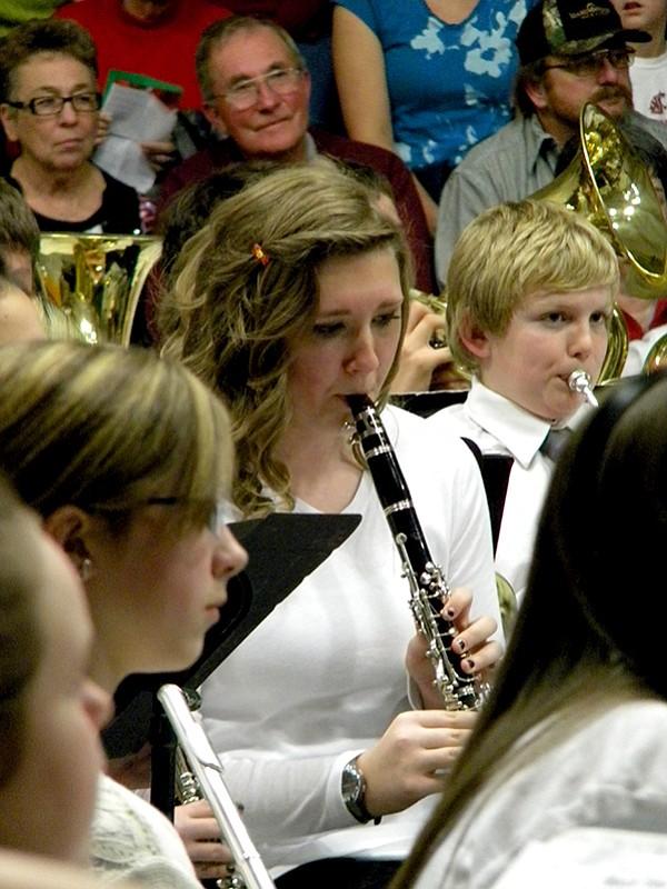 Junior high student Heather Bearbower plays her clarinet.