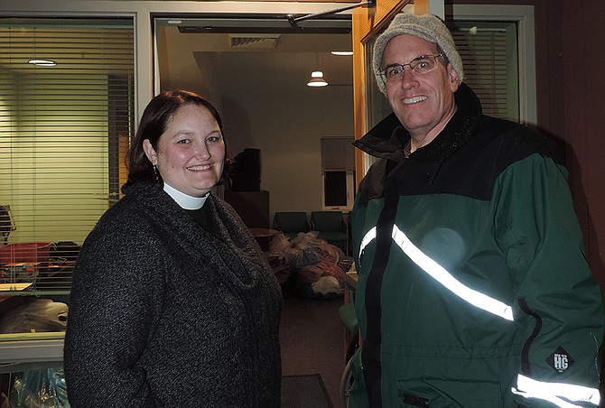 REV. Anna Carmichael and Andy Wade open the doors for Warming Shelter, in one of its turns at Mid-Columbia Center for Living.
