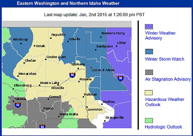 The National Weather Service map shows watches, warnings and advisories in effect this weekend in North-Central Washington.