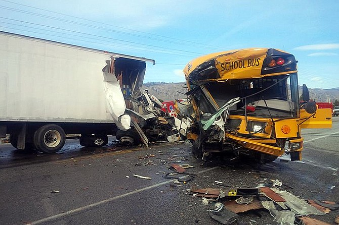 A smashed Orondo School District bus blocks a portion of U.S. Highway 97 from milepost 213 to milepost 235. The closure likely will last until 2 p.m., the Department of Transportation said.