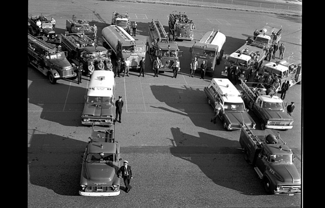 A number of people recognized this as a photograph of The Dalles Fire Department with the Wasco Rural Fire Department as well. The two departments were later combined. Benjamin L. Roth noted that  the man in the bottom left is Chief Charles Roth Jr., his father.  Others offering information were Vern Beito, Gary Conley, Brad Gannon and another whose name I couldn't understand from the message.  Lester Spickerman, Jack Bird and Larry Lange were spotted in the photo itself. The Chronicle photo was dated Oct. 3, 1968.