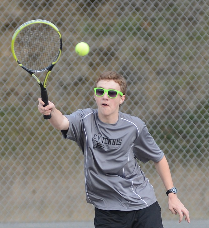 Clearwater Valley freshman tennis player Garrett Jackson was one of several Rams who had a good opening day for coach Krisi Pratt's  squad last Monday, March 16.