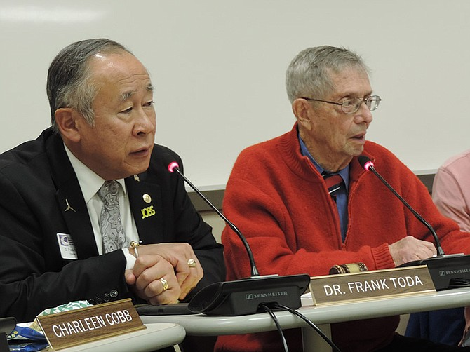 CGCC President Dr. Frank Toda, left, at a 2014 meeting with board president M.D. Van Valkenburgh.