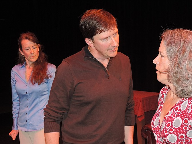 Mike (Joe Garoutte) confronts Margie, an old flame (Kathleen Morrow), while Mike's wife Kate (Desiree Amyx-Mackintosh) maneuvers strange middle ground.
