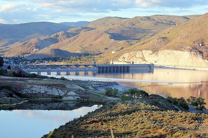 The reservoir level above Grand Coulee Dam today is lower than for the same date in recent years.