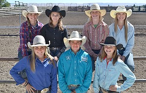 MEMBERS OF The Oregon High School Rodeo Association team representing the Greater Columbia Gorge. Pictured left to right, top row, Macy Kayser, Michaela Browning, Morgan Jane Coyne and Megan Elam, and bottom row Joely Patnode, Bryce Harrison and Morgan Brumley. They are taking time out from rodeo action last September in Condon for a group shot. Six participants will participate in state action from June 10-14 in Prineville.