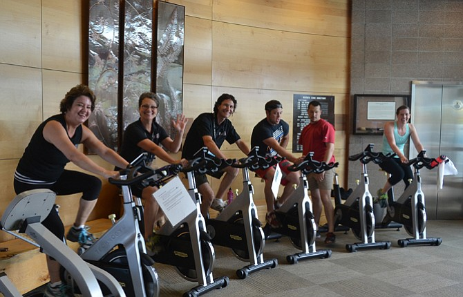 """Staff and Water's Edge pedal during a """"W.E. Pedal' fundraiser for the Mid-Columbia Health Foundation's medical fitness scholarship. They raised $3,431.Contributed photo"""
