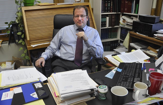 WASCO COUNTY District Attorney Eric Nisley is shown at his desk in late 2012. The elected official is now the subject of a Oregon State Bar complaint that was filed by attorney Brad Timmons, legal counsel for the Wasco CountyCommission. Nisley has been accused of ethic violations that range from conflict of interest to retaliation and soliciting sex from a county employee.   Chronicle file photo